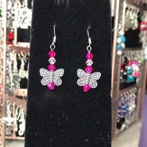 Pretty pink handmade butterfly earrings